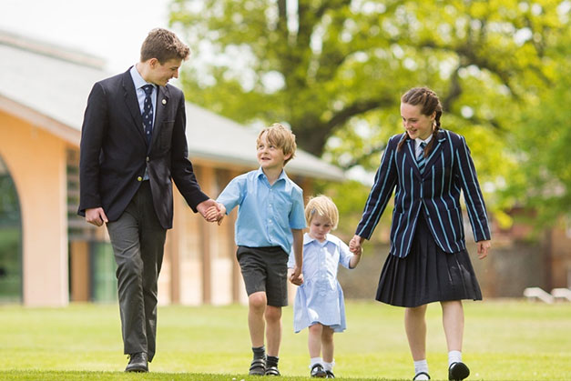 Culford School students across all campuses walk together on the way to the library