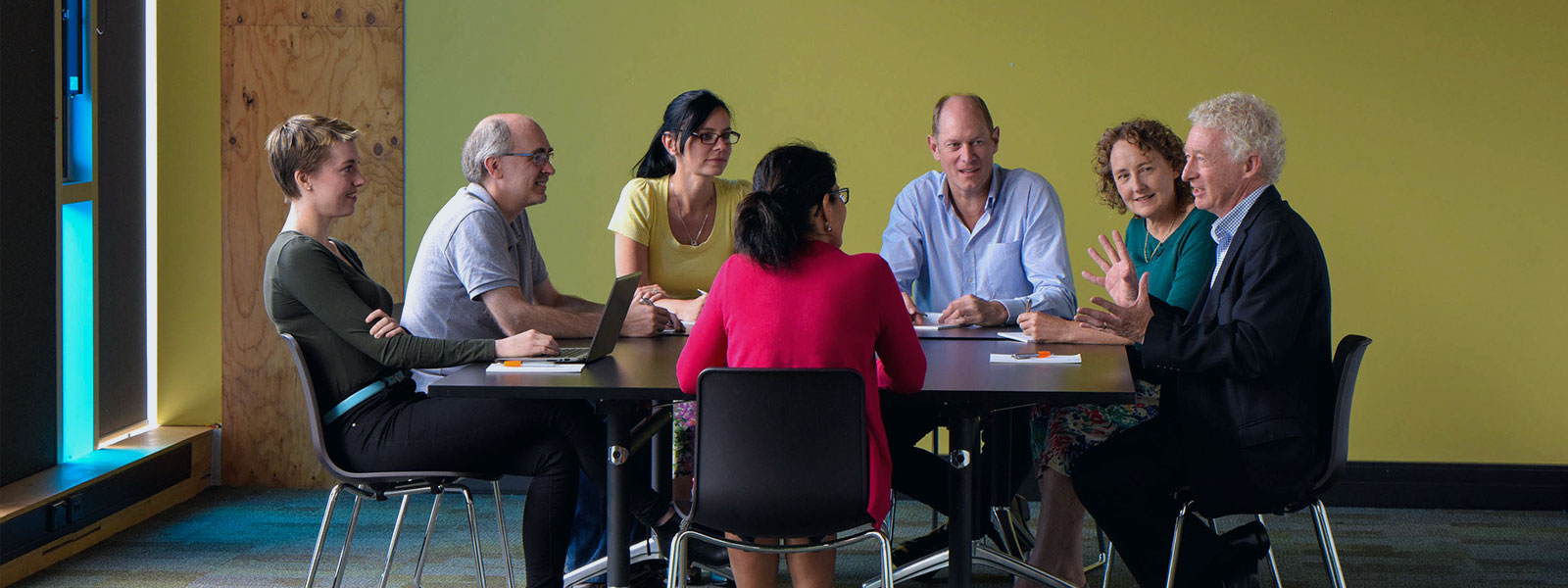 Accessit Library Team having a meeting