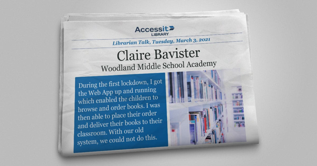 Claire Bavister Woodland Middle School Academy school library management systems uk interface