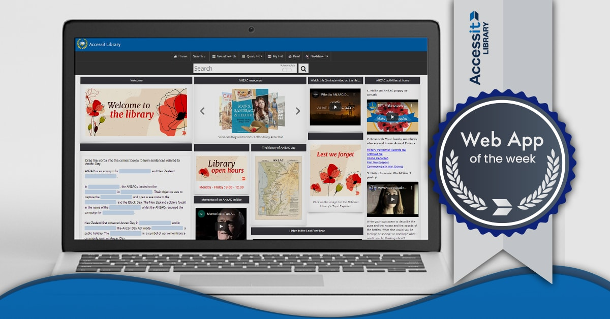 Anzac Day themed school library software dashboard