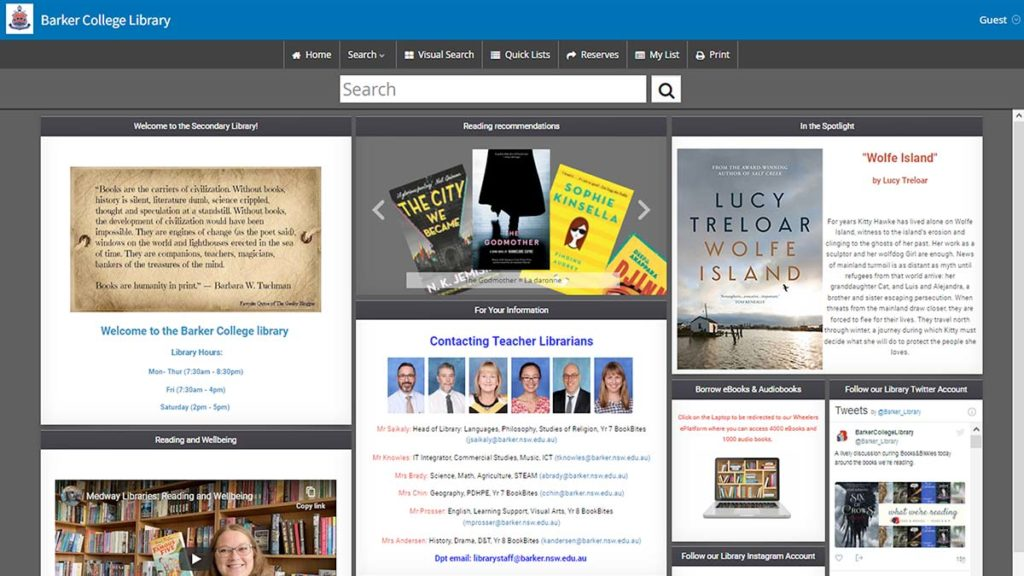 Barker college library management software catalogue