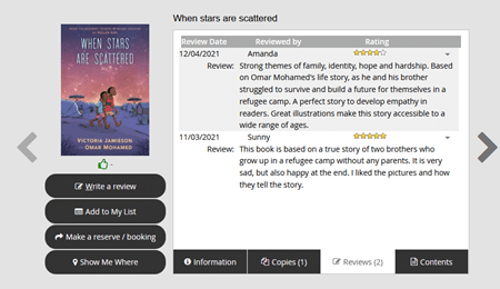 This image shows an example of a resource record on the Accessit Web App. It displays a book cover with written reviews left by students.