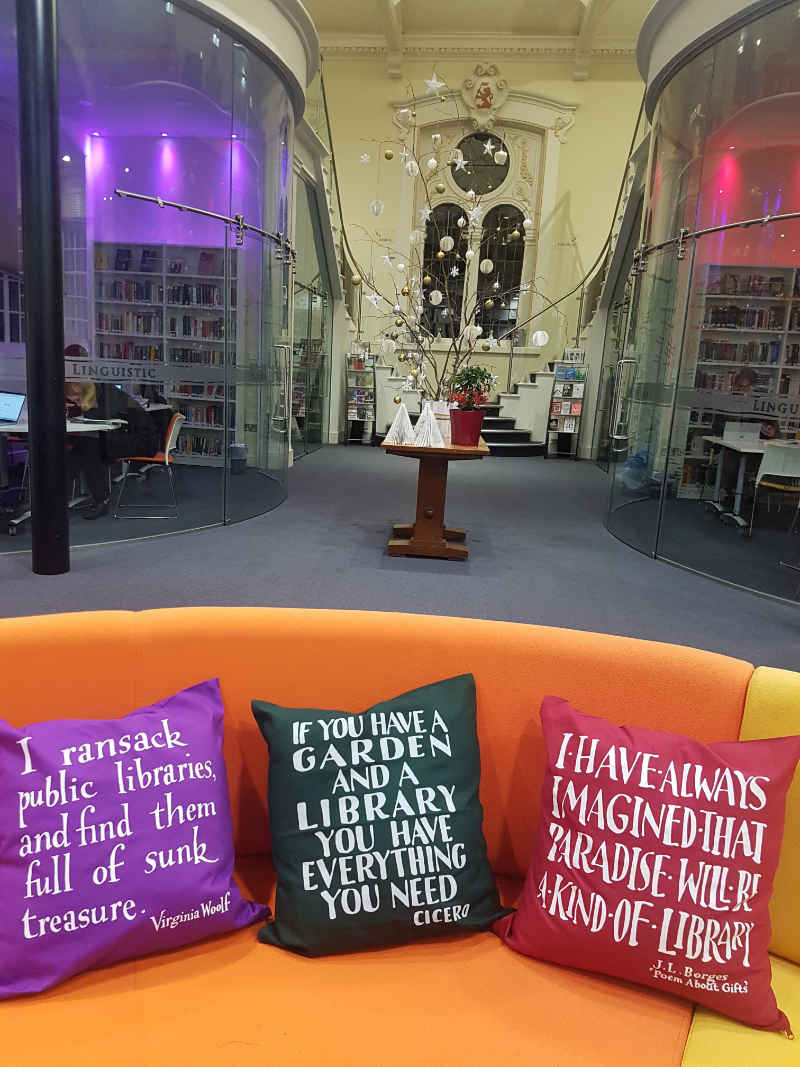 Mallinson Library at Christmas