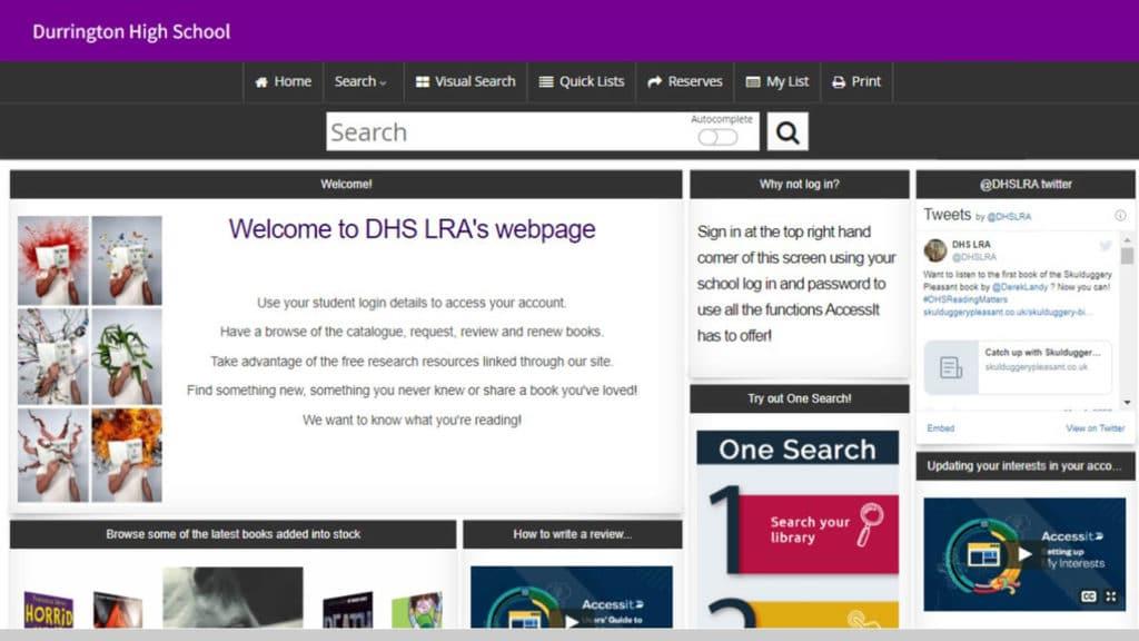 Durrington High School library software catalogue