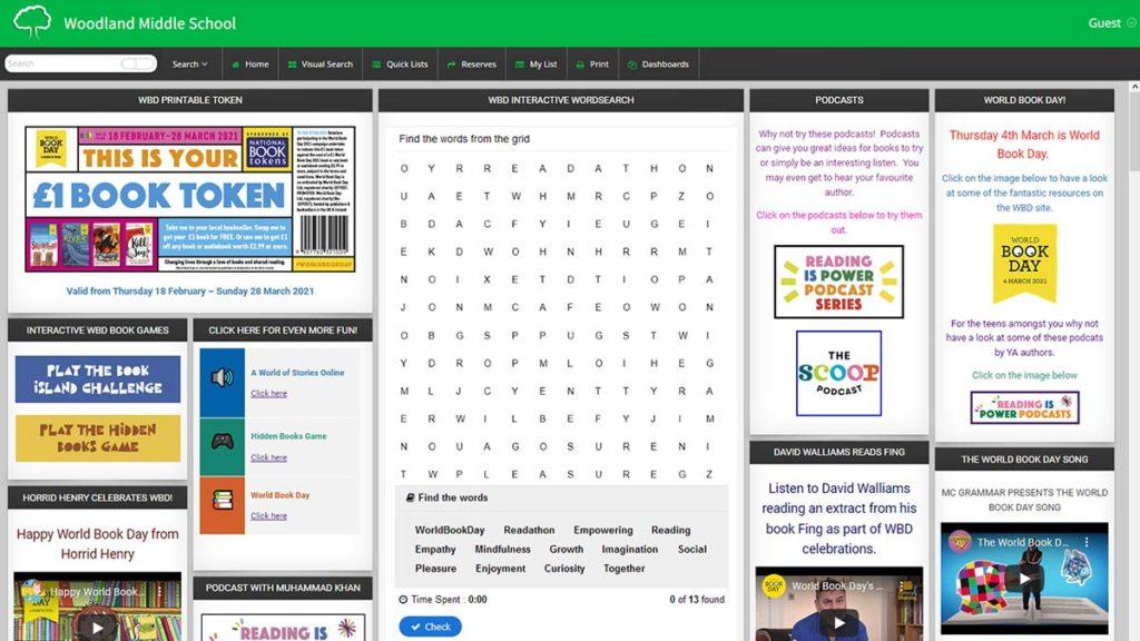 Woodland academy school library software dashboard